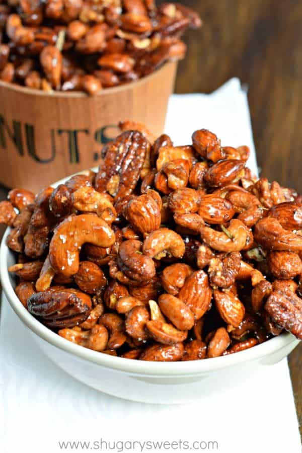 Rosemary Chipotle Roasted Nuts: a sweet and spicy snack mix recipe!