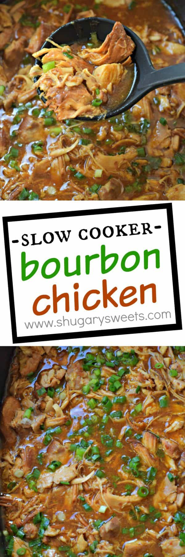 This Slow Cooker Bourbon Chicken recipe has a sweet, tangy glaze and must be put on your dinner menu soon!