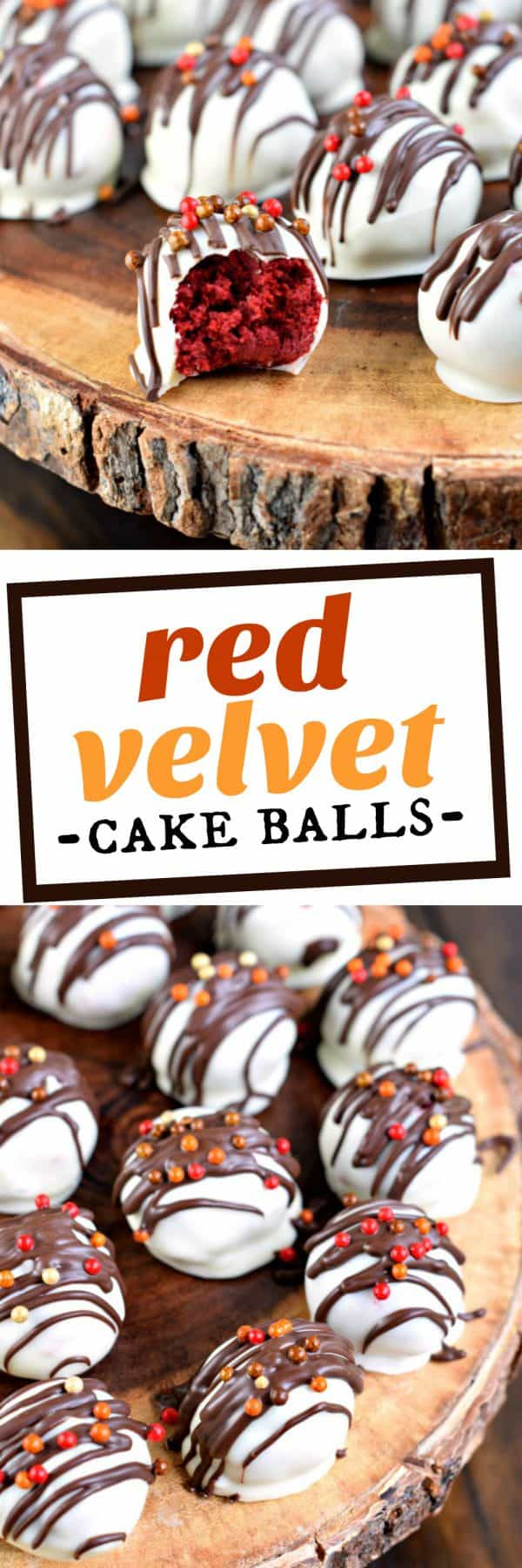 Red Velvet Cake Balls with cream cheese frosting, dunked in sweet white chocolate are the perfect Fall treat! Endless possibilities!