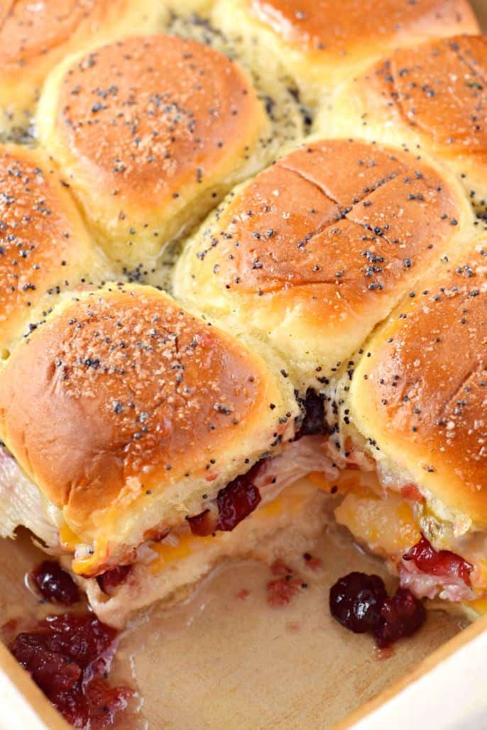 Baking dish with turkey sliders.