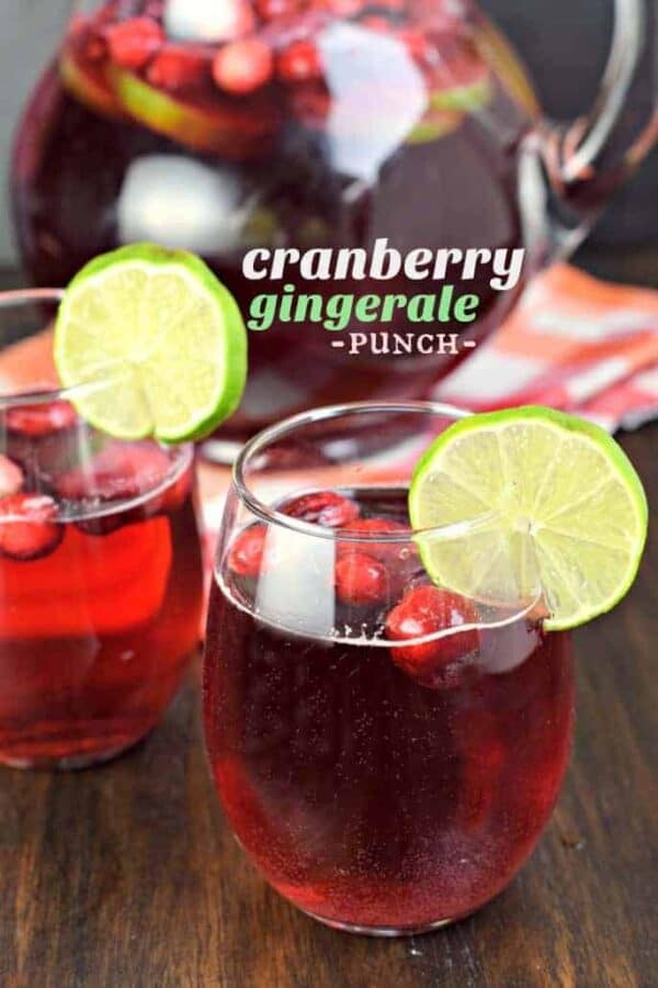 Cranberry Ginger Ale Punch that can be made boozy or not. It's great for grown-ups and kids alike!
