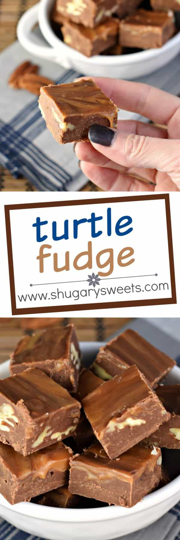 Turtle Fudge is made with a rich, chocolate base and swirled with caramel and packed with crunchy pecans!