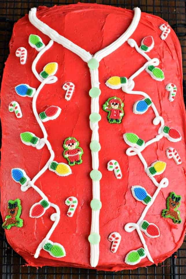 Make an entrance at your next holiday party with this easy Ugly Sweater Cake!