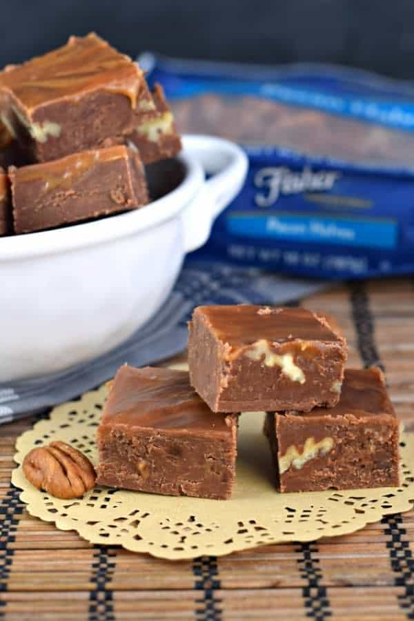 Turtle Fudge is made with a rich, chocolate base and swirled with caramel and packed with crunchy pecans! #thinkfisher