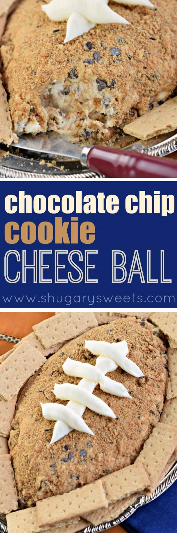 Enjoy a sweet cheese ball recipe for game day with this Chocolate Chip Cookie Cheese Ball recipe. Packed with cream cheese and chocolate chip cookies, it will be the hit of your dessert table!