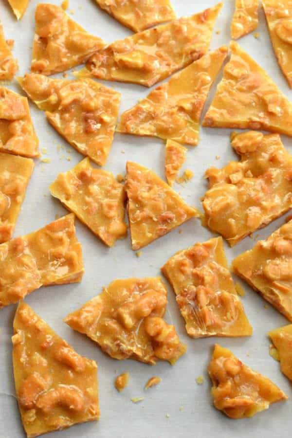 Cashew Brittle made in the microwave! It couldn't be easier, and it's a fun twist on the classic peanut brittle.