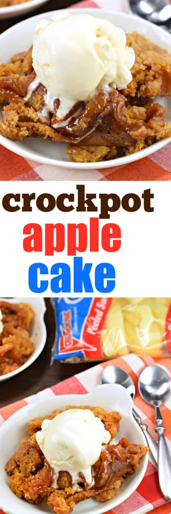 This Slow Cooker Apple Cake is as easy as tossing a few ingredients into your crockpot and letting it do it's thing! Top it with a big scoop of ice cream and serve warm!