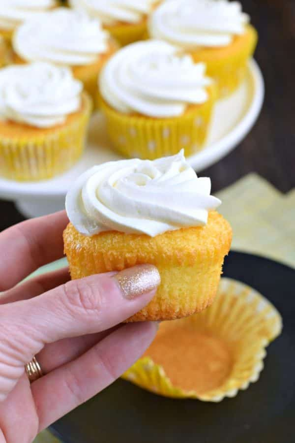 Incredibly easy, these Lemon Pudding Cupcakes are moist and delicious! Topped with a creamy, light lemon frosting, you'll love to sink your teeth into one of these cupcakes!