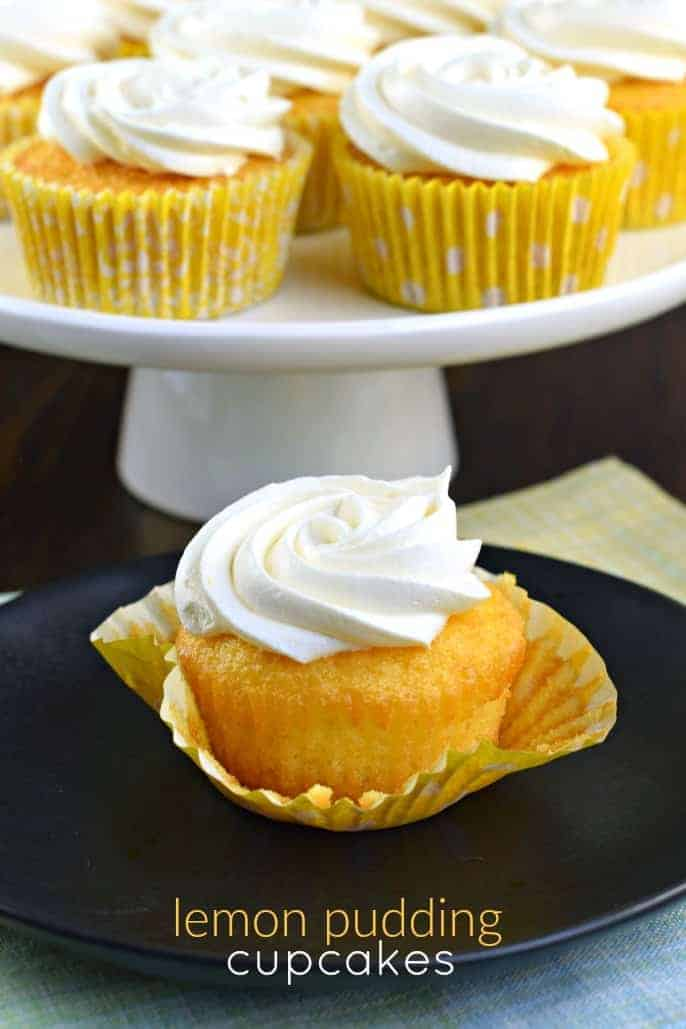 Incredibly easy, these Lemon Pudding Cupcakes are moist and delicious! Topped with a creamy, light lemon frosting, you'll love to sink your teeth into one of these cupcakes