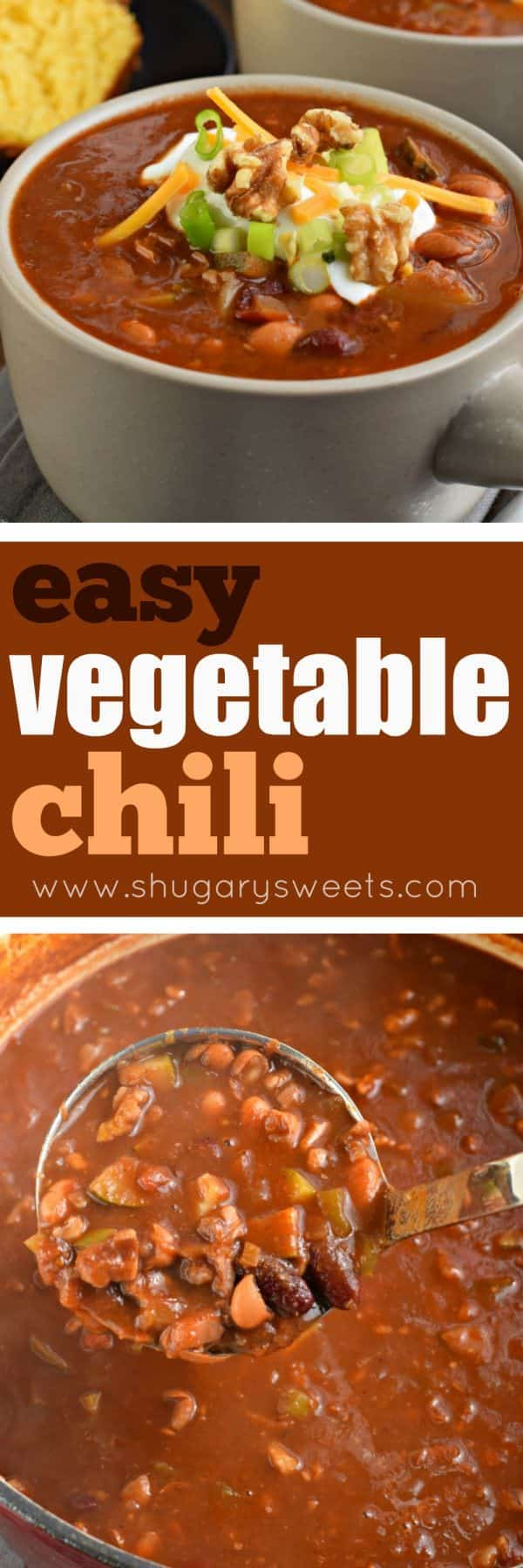 Hearty Vegetarian Chili recipe packed with flavor! You won't miss the meat in this vegetable chili, and the addition of walnuts gives the perfect texture and flavor!