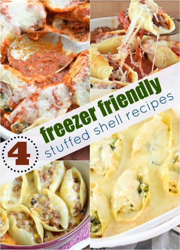 Get the recipes for FOUR freezer friendly stuffed shells. Including chicken alfredo, pizza, taco, and sausage!