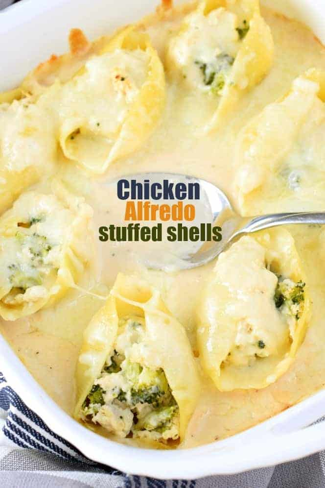 Stuffed Pasta Shells with Chicken, Broccoli, Cheese and smothered in Alfredo sauce! You'll love this easy, freezer friendly, weeknight dinner recipe!