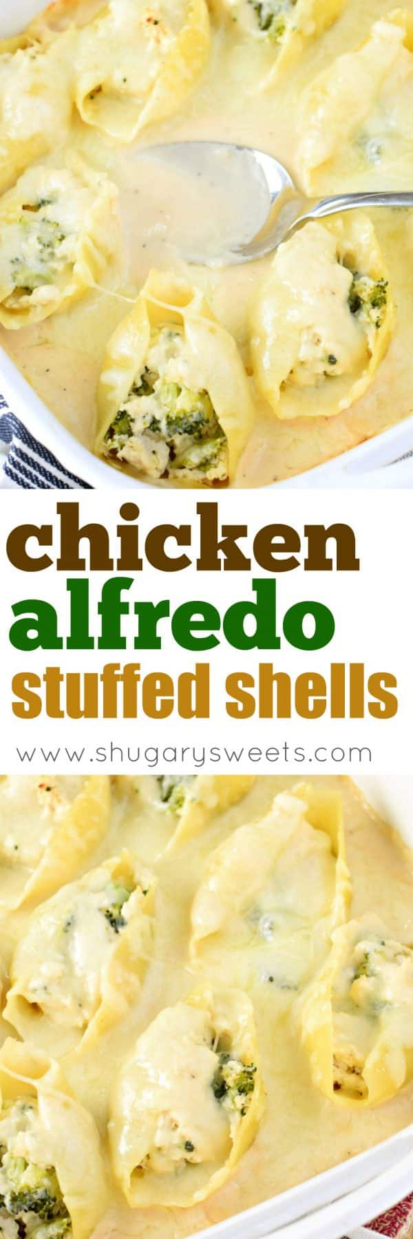 You'll love these easy, freezer friendly Chicken Alfredo Stuffed Shells. The perfect weeknight dinner recipe with chicken, cheese, broccoli and alfredo sauce all stuffed in a pasta shell!