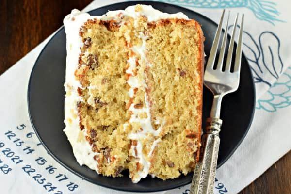 Italian Cream Cake recipe with coconut and pecans and cream cheese frosting!