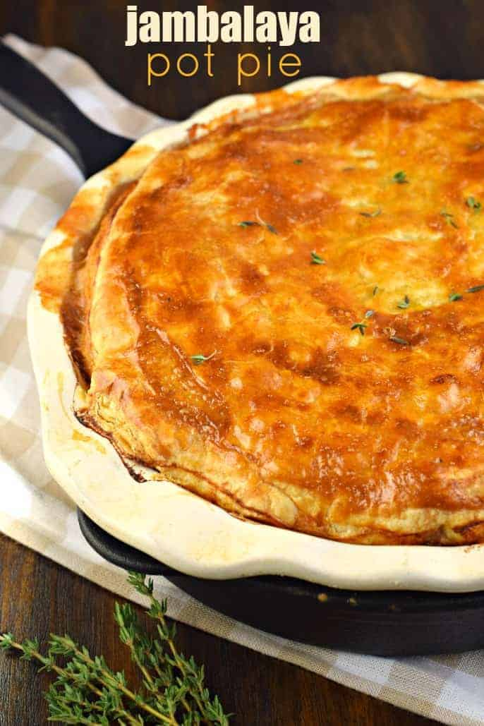 Chicken and Sausage Jambalaya Pot Pie. Give this easy, cajun dinner recipe a try tonight!