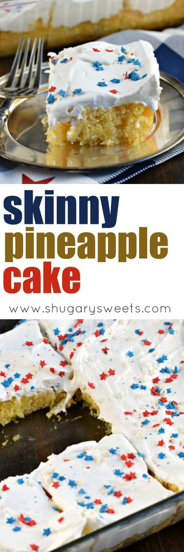 This 3 ingredient SKINNY PINEAPPLE CAKE is the perfect treat for spring and summer! Moist and dense and GUILT FREE.