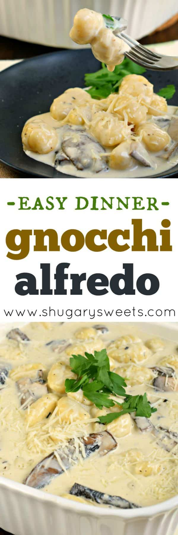 You'll love this delicious Gnocchi Alfredo with Portobello Mushrooms for your next weeknight meal! Ready in 30 minutes, it's perfect for your busy nights, yet impressive enough to serve guests for dinner!