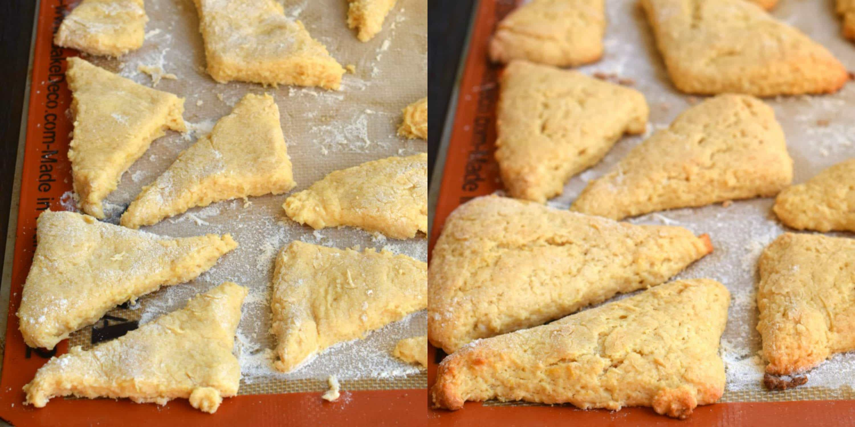 Step by step photos for making lemon scones.