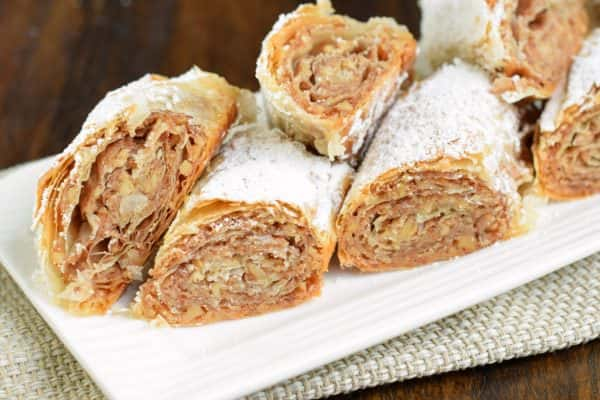 Sweet and flaky, this easy, rolled Russian Baklava will melt in your mouth! Phyllo dough, nuts, and sugar never tasted so good! @princesscruises #ComeBackNew #sponsored