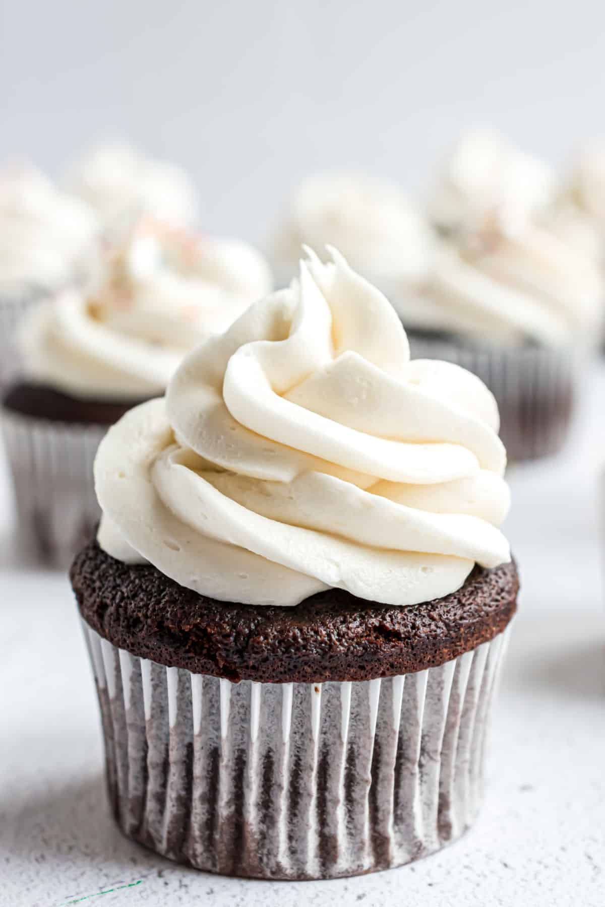 Chocolate cupcake with vanilla frosting.