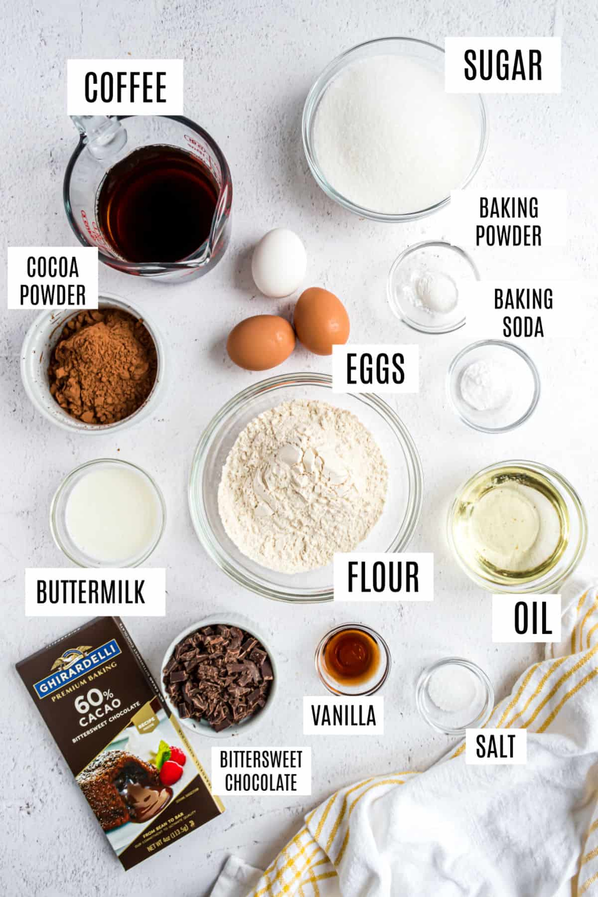 Ingredients needed to make chocolate cupcakes.