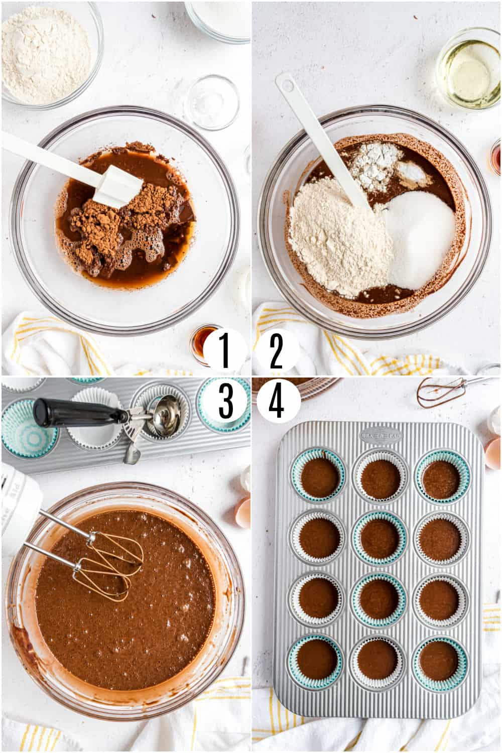 Step by step photos showing how to make chocolate cupcakes.