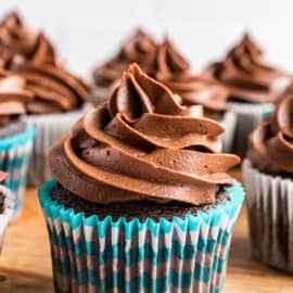 Chocolate cupcakes topped with swirls of chocolate frosting.