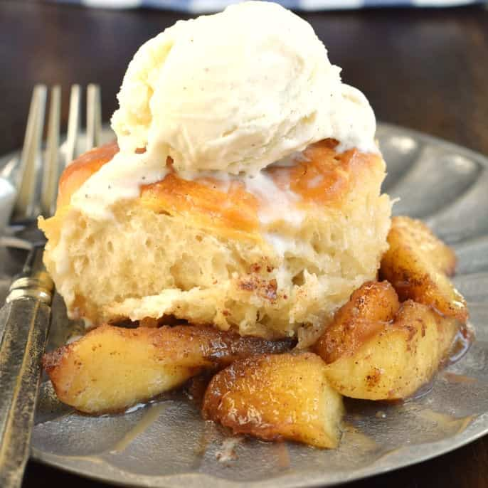 Your house is going to smell amazing when you whip up this easy Skillet Apple Cobbler recipe for dessert! I've even got a few shortcuts for you so you can be enjoying this soon!