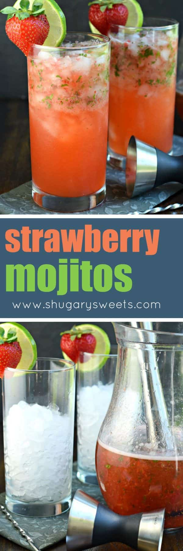 Serve up a batch of the best Strawberry Mojitos recipe at your next party and get rave reviews! Everyone will love this fruity, minty drink recipe!