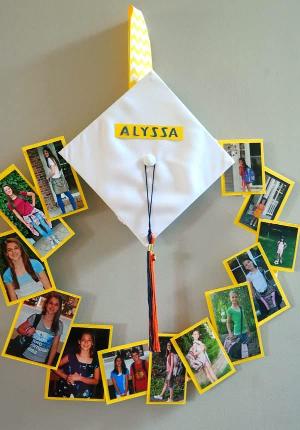 "Create a photographic masterpiece with this ""GRADUATION CAP WREATH""...each photo represents back to school from K-12. Grad cap and tassle too!"