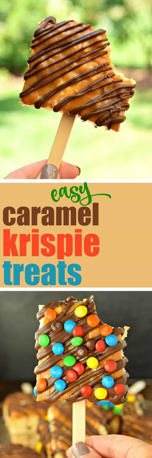 These Easy, Gourmet Caramel and Chocolate Rice Krispie Treats are so fun to make AND eat! Perfect for birthdays, bake sales, and even a fun snack the kids can help make! #bakesale #krispietreats