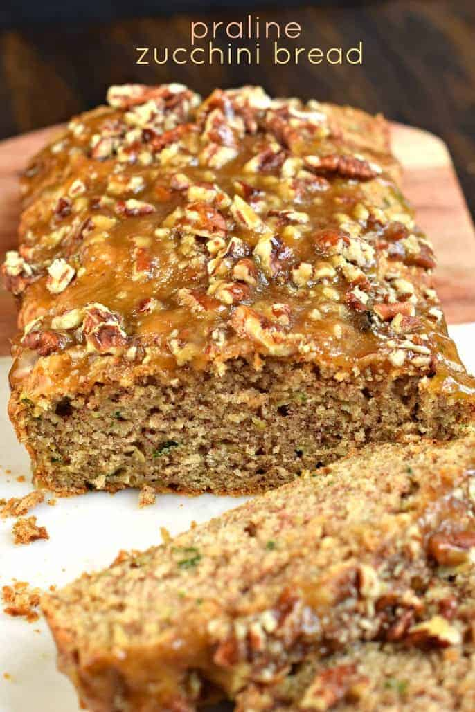 You'll love this Praline Topped Zucchini Bread with it's sweet, brown sugar topping. Sweet and salty, this bread makes TWO freezer friendly loaves! Perfect for sharing or saving for later!