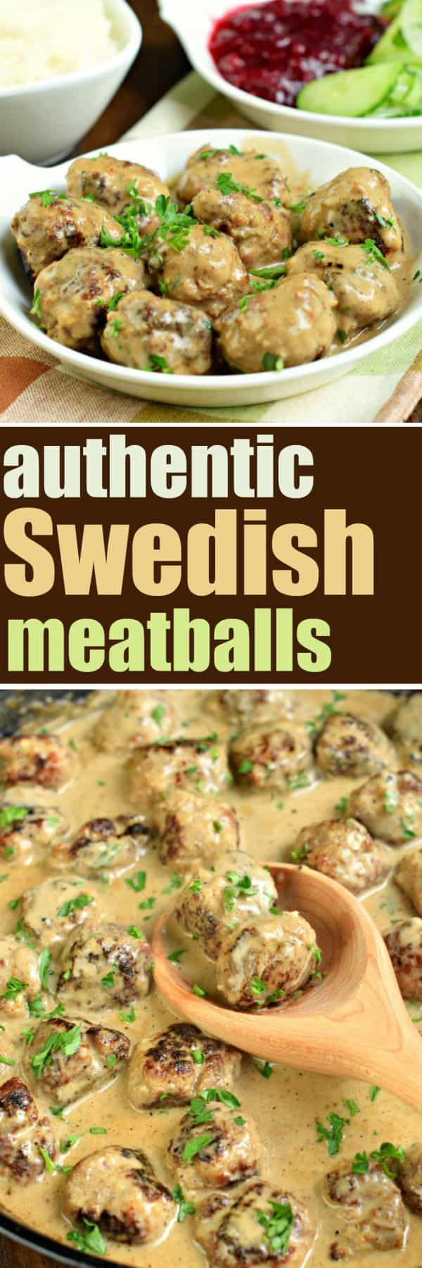 This Authentic Swedish Meatballs recipe is delicious enough for a weeknight meal, and impressive enough for guests! You'll love the creamy sauce and the sides of cucumbers and lingonberries!