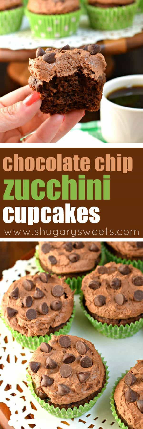 You'll love these moist and fudgy, Chocolate Chip Zucchini Cupcakes! Hard to believe there's a vegetable inside these sweet cupcakes!