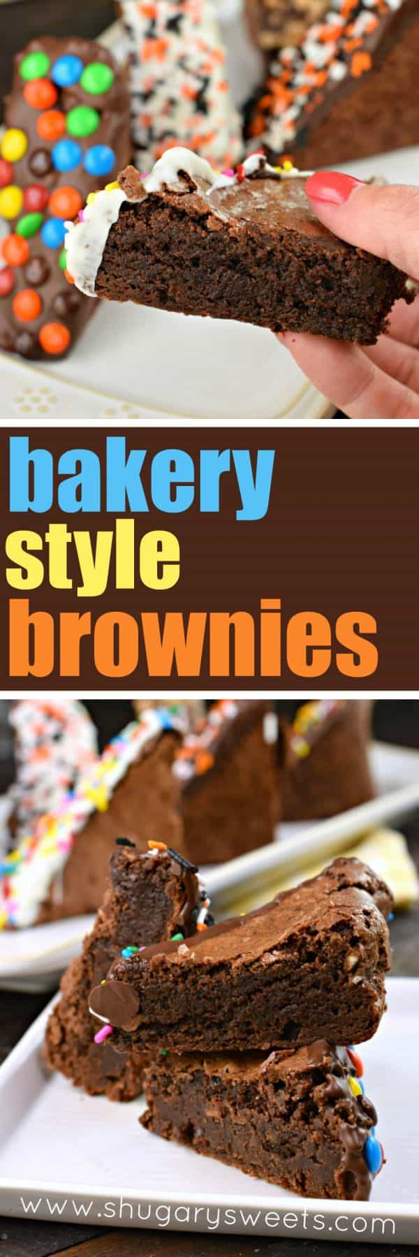Look no further, these thick, fudgy Bakery Style Brownies are the perfect, one bowl brownie recipe you'll ever need! They also make a great bake sale treat!