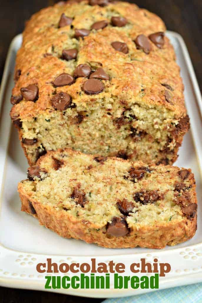 A slice of this Chocolate Chip Zucchini Bread and a cup of coffee is the perfect way to start your day. Recipe makes two, freezer friendly loaves of bread!
