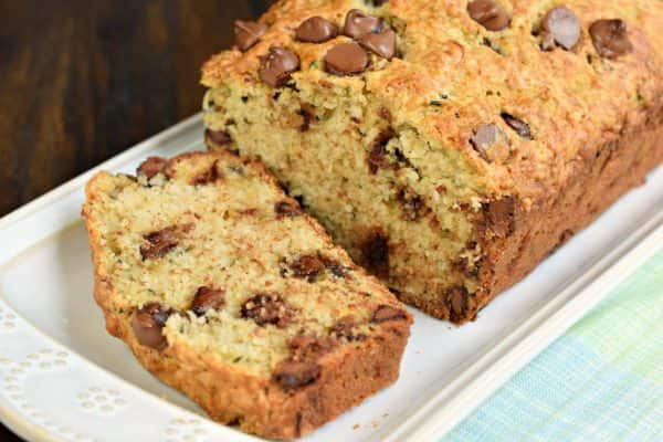 Chocolate Chip Zucchini Bread recipe, perfect with a cup of coffee! Freezer friendly too!