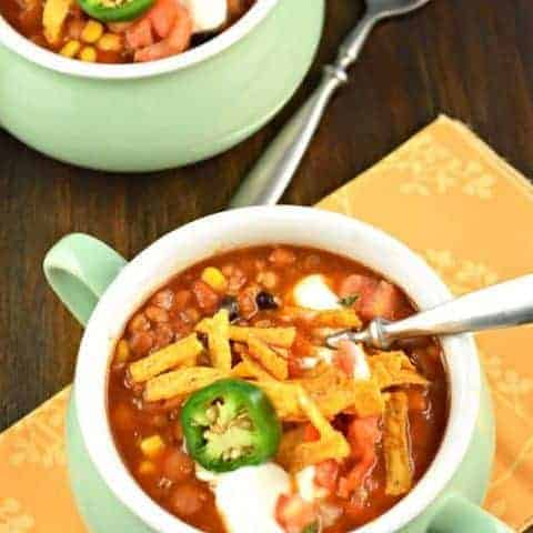 Slow Cooker Vegetarian Lentil Tortilla Soup