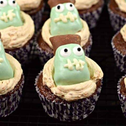 Butterfinger Frankenstein Cupcakes