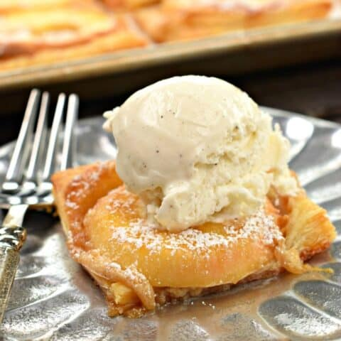 Apple tart topped with ice cream.
