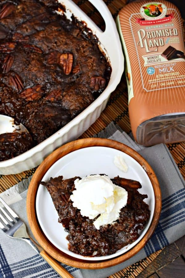This classic, southern Chocolate Cobbler recipe has a rich, fudgy sauce topped with a decadent brownie-like topping! #farfromordinarymilk #sponsored #chocolatemilk