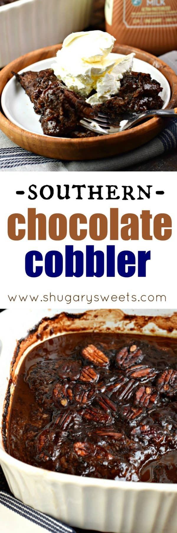 This classic, southern Chocolate Cobbler recipe has a rich, fudgy sauce topped with a decadent brownie-like topping! #farfromordinarymilk #sponsored #chocolatemilk #cobbler