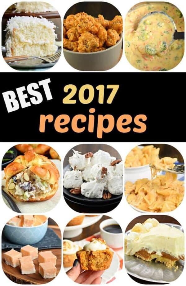 Reader favorite recipes of 2017, did you miss any? #shugarysweets #bestofpinterest #favoriterecipes #mostpopularrecipes #recipe #divinity #coconutcake #bangbangchicken #panerasoup #chickensalad #bananacreampie #fudge