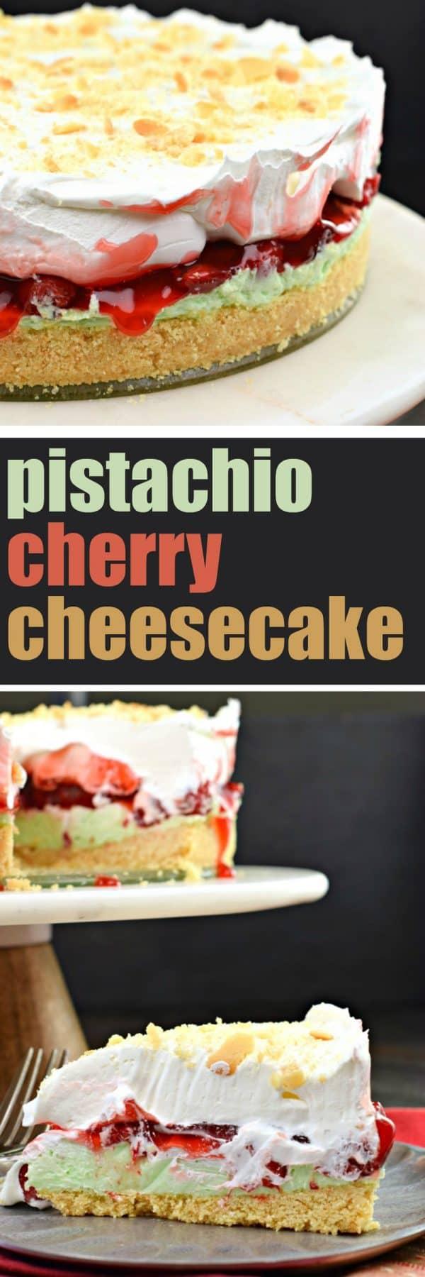 No Bake Pistachio Cherry Cheesecake recipe #holidays #christmas #cheesecake #christmasbaking #christmasrecipes #pistachio
