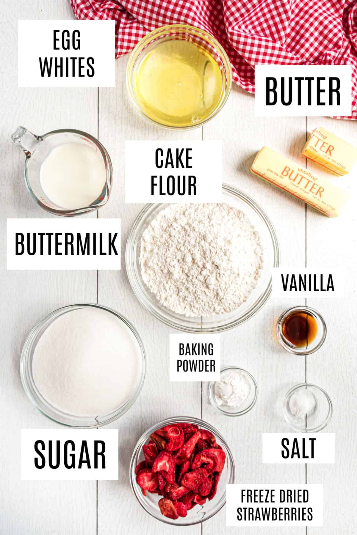 Ingredients needed for strawberry cake from scratch.
