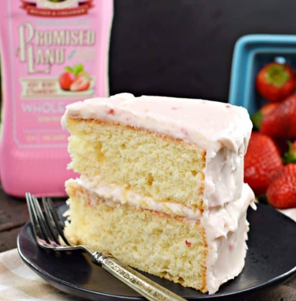 Strawberry Layer Cake, from scratch #buttercream #frosting #farfromordinarymilk #sponsored #strawberry #cake #dessert