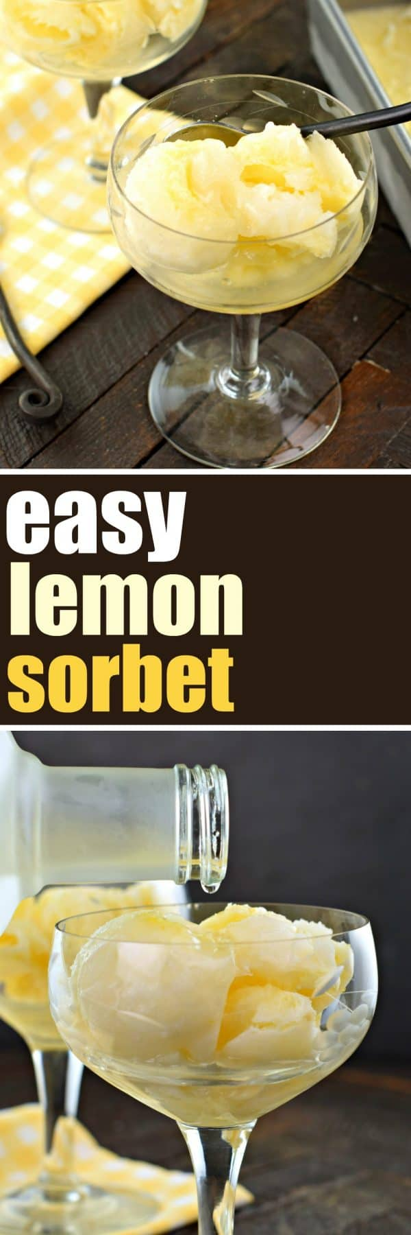 Smooth, sweet, and tart describe this deliciously, Easy Lemon Sorbet recipe! No ice cream maker needed! Add an optional shot of vodka for the perfect palate cleanser! #princesscruises #sponsored #lemon #sorbet #easyrecipe