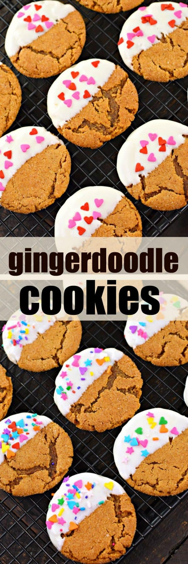 Chewy Gingerdoodle Cookies #whitechocolate #snickerdoodle #gingersnap #cookie #cookies #holiday