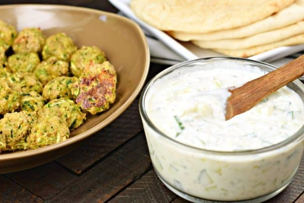 Greek Zucchini Meatballs #healthy #vegetarian #meatless #zucchini #greek #recipe #tzatziki #healthyrecipes