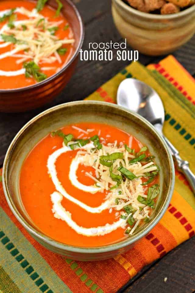Make this Roasted Tomato Soup recipe using fresh or canned tomatoes. I've got tricks on how to freeze your tomatoes fresh from the garden too! You'll love the texture and taste of this soup, and may never eat canned soup again!